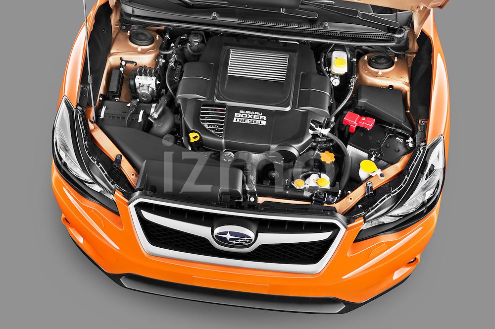 High angle engine detail of a 2012 Subaru XV Executive SUV