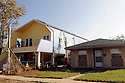 An angular house by Graft, a Los Angeles architecture firm, is being built with the help of  Brad Pitt and the Make It Right Foundation, making a touist attraction of the Hurricane Katrina-devastated Lower Ninth Ward, New Orleans, Thurs., Nov. 19, 2009.