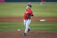 Piedmont Boll Weevils starting pitcher Jonathan Stiever (20) in action against the Hickory Crawdads at Kannapolis Intimidators Stadium on May 3, 2019 in Kannapolis, North Carolina. The Boll Weevils defeated the Crawdads 4-3. (Brian Westerholt/Four Seam Images)