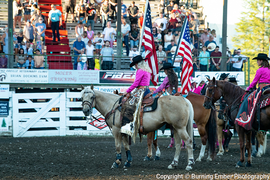 American Flag proud at the 2nd perf of the Newport PRCA Rodeo.  Photo by Josh Homer/Burning Ember Photography.  Photo credit must be given on all uses.