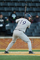Steve Anderson (19) of the Georgetown Hoyas at bat against the Wake Forest Demon Deacons at Wake Forest Baseball Park on February 16, 2014 in Winston-Salem, North Carolina.  The Demon Deacons defeated the Hoyas 3-2.  (Brian Westerholt/Four Seam Images)