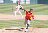 Auburn Mason Barnett (18) throws a pitch, Saturday, April 3, 2021 during the eighth inning of a baseball game at Baum-Walker Stadium in Fayetteville. Check out nwaonline.com/210404Daily/ for today's photo gallery. <br /> (NWA Democrat-Gazette/Charlie Kaijo)