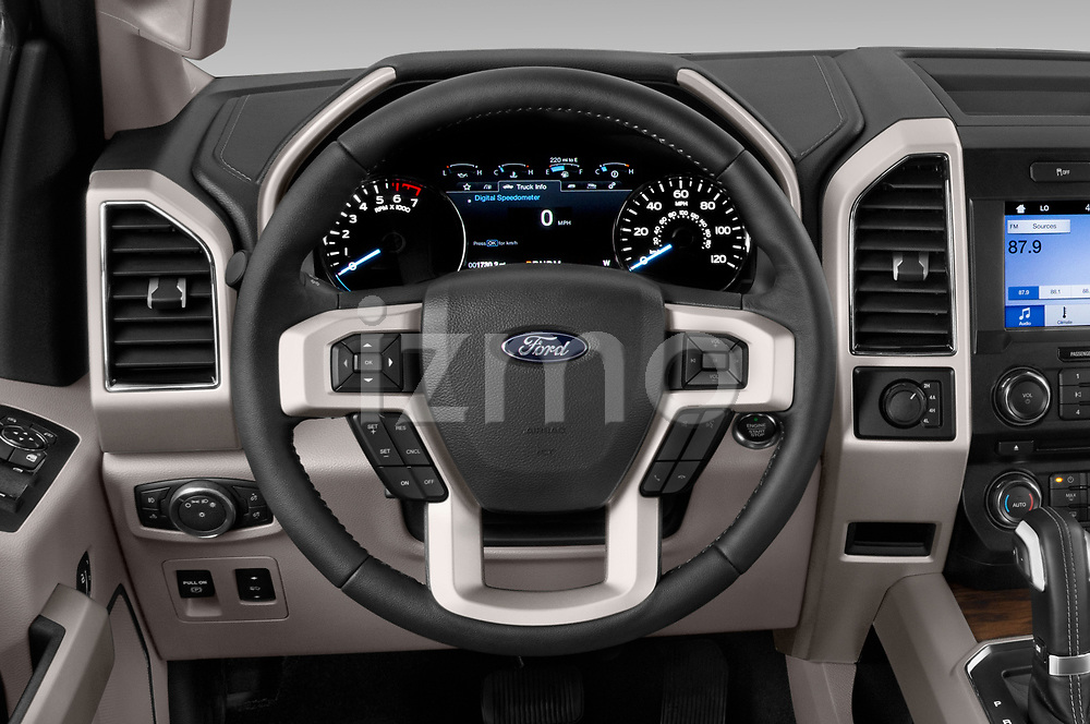 Car pictures of steering wheel view of a 2018 Ford F-150 Lariat 4 Door Pick-up Steering Wheel