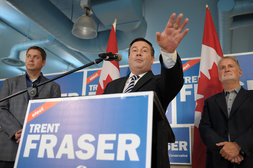 Defence Minister Jason Kenney takes questions from reporters after announcing the Conservative Party's plan, if re-elected, to expand the capabilities of the special forces to respond to acts of terror and other emergencies at fellow Conservative candidate Trent Fraser's campaign headquarters in Regina on Saturday, September 26, 2015.  Kenney is running for re-election in Calgary-Midnapore. Fraser is the Conservative candidate in Regina-Lewvan. THE CANADIAN PRESS/Mark Taylor
