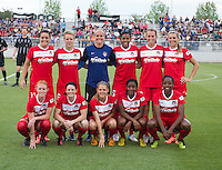 The Washington Spirit line up before the game at the Maryland SoccerPlex in Boyds, MD.  Washington tied Boston, 1-1.