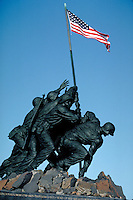 The Iwo Jima Memorial to US Marines at Arlington, Virginia. National Parks, Military, Tourism, Monuments, Washington DC Area. Arlington VA USA Washington, DC Metro Area.