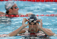 Michael Phelps of the United States reacts after winning in a men's 200 meters freestyle semifinal at the Swimming World Championships in Rome, 27 July 2009..UPDATE IMAGES PRESS/Riccardo De Luca