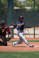 Cleveland Indians center fielder George Valera (32) follows through on his swing during an Extended Spring Training game against the Arizona Diamondbacks at the Cleveland Indians Training Complex on May 27, 2018 in Goodyear, Arizona. (Zachary Lucy/Four Seam Images)