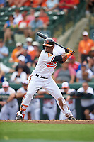 Baltimore Orioles Aneury Tavarez (57) at bat during a Spring Training exhibition game against the Dominican Republic on March 7, 2017 at Ed Smith Stadium in Sarasota, Florida.  Baltimore defeated the Dominican Republic 5-4.  (Mike Janes/Four Seam Images)