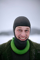 Christian Ernest from Sweden. Freediving competition Oslo Ice Challenge at freshwater lake Lutvann outside the Norwegian capital Oslo. Atheletes, including current and former world champions, entered a hole in the ice to compete. The participants reached depths down to 52 meters below the surface.