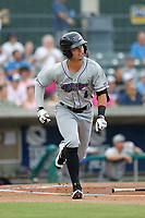 Winston-Salem Dash designated hitter Mitch Roman (4) at bat during a game against the Myrtle Beach Pelicans at Ticketreturn.com Field at Pelicans Ballpark on July 22, 2018 in Myrtle Beach, South Carolina. Winston-Salem defeated Myrtle Beach 7-2. (Robert Gurganus/Four Seam Images)