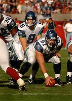 Nov. 6, 2005; Tempe, AZ, USA; Center (61) Robbie Tobeck of the Seattle Seahawks prepares to snap the ball to quarterback (8) Matt Hasselbeck against the Arizona Cardinals at Sun Devil Stadium. Mandatory Credit: Mark J. Rebilas