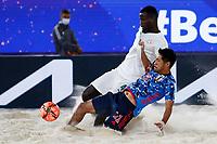28th August 2021; Luzhniki Stadium, Moscow, Russia: FIFA World Cup Beach Football tournament; Semi final match Japan versus Senegal: Japan's Masanori Okuyama plays against Papa Ndour of Senegal, during the match between Japan and Senegal.