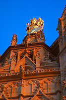 The Saint Andre Cathedral 11th 12th century in the evening at sunset on the place pey berland in Bordeaux, detail of the gold painted gilt statue of the madonna and child, Place Pey Berland. city Bordeaux Gironde Aquitaine France
