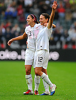 Alex Morgan (l) and Lauren Cheney of team USA celebrate during the FIFA Women's World Cup at the FIFA Stadium in Moenchengladbach, Germany on July 13th, 2011.