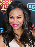 LOS ANGELES, CA, USA - OCTOBER 12: Actress Zoe Saldana arrives at the Los Angeles Premiere Of Twentieth Century Fox and Reel FX Animation Studios' 'The Book of Life' held at Regal Cinemas L.A. Live on October 12, 2014 in Los Angeles, California, United States. (Photo by Xavier Collin/Celebrity Monitor)