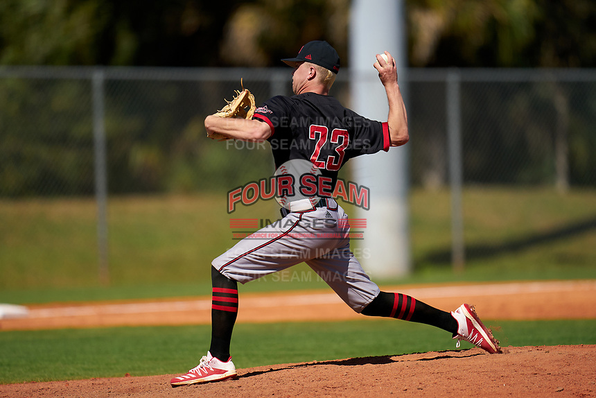 Omaha Mavericks pitcher Jackson Gordon (23) during a game against the Dartmouth Big Green on February 23, 2020 at North Charlotte Regional Park in Port Charlotte, Florida.  Dartmouth defeated Omaha 8-1.  (Mike Janes/Four Seam Images)