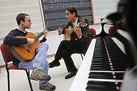 At left Ray Epstein practice his music with Professor Jorge Torres in the music room at Lafayette College on Wed, October 24th...4134