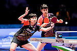 Hoi Kem Doo & Ho Ching Lee of Hong Kong vs Yui Hamamoto & Hina Hayata of Japan<br /> at their Women's Doubles Final match during the Seamaster Qatar 2016 ITTF World Tour Grand Finals at the Ali Bin Hamad Al Attiya Arena on 11 December 2016, in Doha, Qatar. Photo by Victor Fraile / Power Sport Images