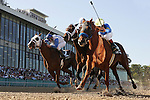 09 April 2010: Line of David and Jon Court(rail) defeat Super Saver with Calvin Borel aboard(center) and Dublin with Terry Thompson up(outside) to win the Arkansas Derby at Oaklawn Park in Hot Springs, AR.