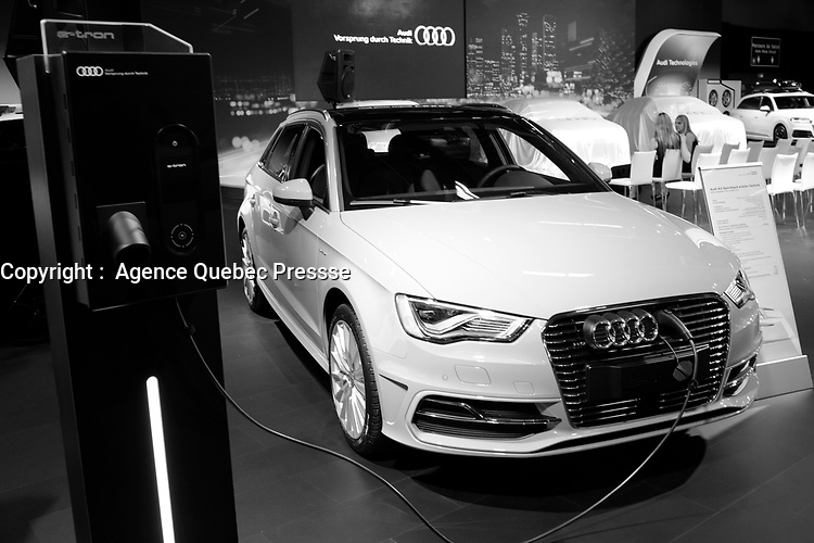 AUDI  Electrical <br /> 2016 model at Montreal car show. January 15, 2016<br /> <br /> Photo : Pierre Roussel - Agence Quebec Presse<br /> <br /> <br /> <br /> <br /> <br /> <br /> <br /> <br /> <br /> <br /> <br /> .