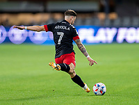 WASHINGTON, DC - MAY 13: Paul Arriola #7 of D.C. United passes the ball during a game between Chicago Fire FC and D.C. United at Audi FIeld on May 13, 2021 in Washington, DC.