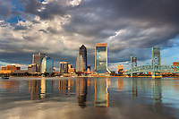 The iconic skyline of Jacksonville at sunrise.