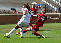 WINSTON-SALEM, NORTH CAROLINA - September 01, 2013:<br />  Chelsea Hunter (10) of Louisville University slides into Katie Stengel (12) of Wake Forest University during a match at the Wake Forest Invitational tournament at Wake Forest University on September 01. The match was abandoned early in the second half due to severe weather with Wake leading 1-0.