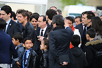 Visite du PrÈsident de la RÈpublique FranÁois Hollande dans la commune de Vaulx-en-velin sur le thËme de la politique de la ville. PrÈsentation de l'Ècole du Futur RenÈ Beauverie en prÈsence d'HÈlËne Geoffroy, secrÈtaire d'Ètat ‡ la ville et de la ministre de l'Èducation nationale Najat Vallaud Belkacem.
