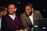 Pictured L-R: Leon Britton and Ashley Williams Thursday 08 April 2016<br />Re: Zimkids dinner at the Liberty Stadium, Swansea, UK