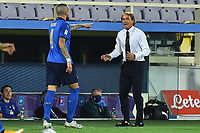 Cristiano Biraghi of Italy and Roberto Mancini coach of Italy during the Uefa Nation League Group Stage A1 football match between Italy and Bosnia at Artemio Franchi Stadium in Firenze (Italy), September, 4, 2020. Photo Massimo Insabato / Insidefoto