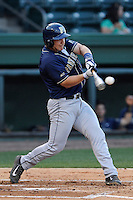 First baseman Steven Shelinsky Jr. (18) of the University of Pittsburgh Panthers slugs a home run in a game against the Presbyterian Blue Hose on Tuesday, March 11, 2014, at Fluor Field at the West End in Greenville, South Carolina. Pitt won, 12-3. (Tom Priddy/Four Seam Images)