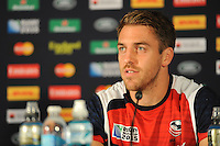 Chris Wyles of USA speak to the press after Match 18 of the Rugby World Cup 2015 between Scotland and USA - 27/09/2015 - Elland Road, Leeds<br /> Mandatory Credit: Rob Munro/Stewart Communications