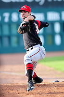 Tyler Beede (18) of the Richmond Flying Squirrels warms up in the bullpen prior to a game versus the New Hampshire Fisher Cats at Northeast Delta Dental Stadium on June 5, 2015 in Manchester, New Hampshire. (Ken Babbitt/Four Seam Images)