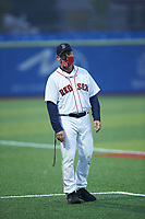 Boston Red Sox scout Kirk Fredriksson coaches third base during the South Atlantic Border Battle Futures Game at Truist Point on September 25, 2020 in High Pont, NC. (Brian Westerholt/Four Seam Images)