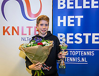 Wateringen, The Netherlands, December 1,  2019, De Rhijenhof , NOJK 12 and16 years, Runner up boys 12 years: Thijs Boogaard (NED) with the trophy<br /> Photo: www.tennisimages.com/Henk Koster