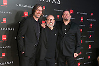 "Alex de la Iglesia Juanfer Andrés and Esteban Roel attend the Premiere of the movie ""Musaranas"" in Madrid, Spain. December 17, 2014. (ALTERPHOTOS/Carlos Dafonte) /NortePhoto /NortePhoto.com"