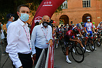 Waiting for the start of the 2020 Strade Bianche Elite Men running 184km from Fortezza Medicea Siena to Piazza del Campo Siena, Italy. 1st August 2020.<br /> Picture: LaPresse/Gian Mattia D'Alberto | Cyclefile<br /> <br /> All photos usage must carry mandatory copyright credit (© Cyclefile | LaPresse/Gian Mattia D'Alberto)