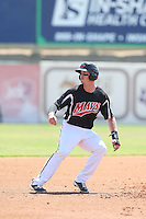 Royce Bolinger (5) of the High Desert Mavericks runs the bases during a game against the Bakersfield Blaze at Mavericks Stadium on May 18, 2015 in Adelanto, California. High Desert defeated Bakersfield, 7-6. (Larry Goren/Four Seam Images)