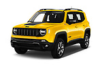 2019 JEEP Renegade Trailhawk 5 Door SUV Angular Front stock photos of front three quarter view