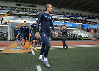 Tottenham players take to the pitch led by Harry Kane. Barclays Premier League match between Swansea City and Tottenham Hotspur played at The Liberty Stadium, Swansea on October 4th 2015