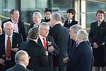 The Welsh rugby team celebrate winning the Grand Slam in the Six Nations rugby tournament at The Senydd in Cardiff Bay..Coach Warren Gatland at the drinks reception.