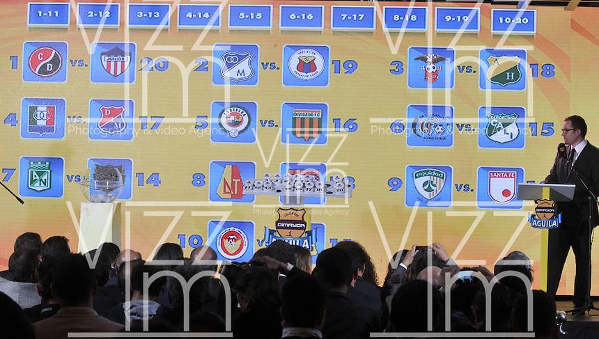BOGOTA-COLOMBIA-23-01-2015: Calendario de la Primera fecha de los  partidos de fútbol de la Liga Aguila 2015. / Calendar date of the first football games of the Liga Aguila 2015. Photo: VizzorImage / Luis Ramirez / Staff.