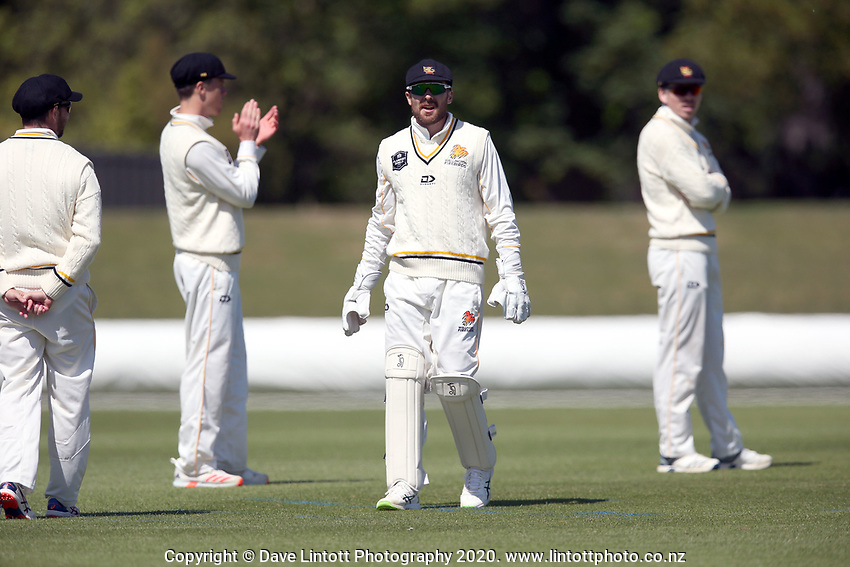 Tom Blundell during Day 1 of Round Two Plunket Shield cricket match between Canterbury and Wellington at Hagley Oval in Christchurch, New Zealand on Wednesday, 28 October 2020. Photo: Martin Hunter / lintottphoto.co.nz
