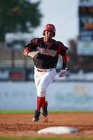 Batavia Muckdogs outfielder Isael Soto (21) running the bases during a game against the West Virginia Black Bears on August 30, 2015 at Dwyer Stadium in Batavia, New York.  Batavia defeated West Virginia 8-5.  (Mike Janes/Four Seam Images)
