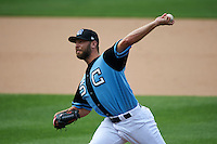 Syracuse Chiefs pitcher Matt Grace (21) delivers a pitch during a game against the Pawtucket Red Sox on July 6, 2015 at NBT Bank Stadium in Syracuse, New York.  Syracuse defeated Pawtucket 3-2.  (Mike Janes/Four Seam Images)