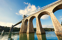 Menai Suspension Bridge, completed in 1826., crossing the menai straits between the island of Anglesey and the mainland of Wales