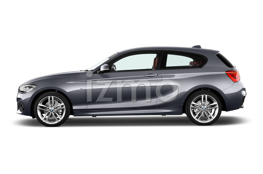 Car Driver side profile view of a 2015 BMW 1 Series M Sport 3 Door Hatchback Side View
