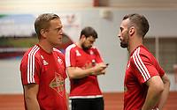 Pictured L-R: Garry Monk with Johnny Northeast Tuesday 30 June 2015<br /> Re: Pre-season assessment of Swansea City FC players on the grounds of Swansea University, south Wales, UK