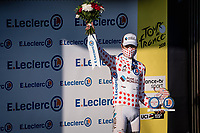 Polka Dot Jersey / KOM leader Benoit Cosnefroy (FRA/AG2R-La Mondiale) on the podium<br /> <br /> Stage 15 Lyon to Grand Colombier (175km)<br /> <br /> 107th Tour de France 2020 (2.UWT)<br /> (the 'postponed edition' held in september)<br /> <br /> ©kramon